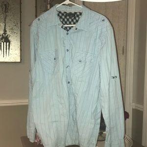 Bright blue long sleeve shirt
